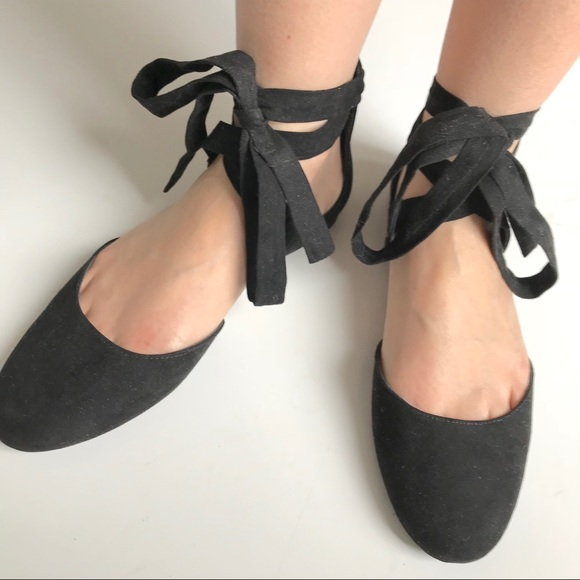 765ea04c11c NWOT-Black Lace Up Flats Ballet Ankle Tie